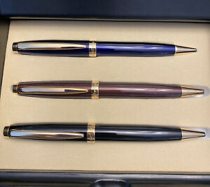 Montefiore Rollerball/ball Pen Set Includes 3 Pens And Black Lacquer Display Box
