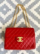 Vintage 1990s CHANEL Red Leather Large Logo Chain Single Flap Jumbo Bag France