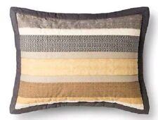 One Threshold Micro Geo Stripe Standard Pillow Sham Gold Brown Tan New (Have 2)