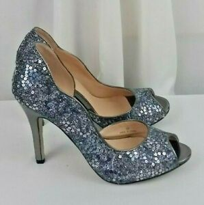 NEW Pink Paradox London scalloped sequined silver black high heel womens SZ 7.5