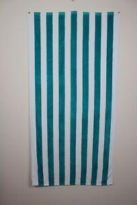 Exclusivo Mezcla Turquoise White Striped Beach Swimming Pool Towel 100% Cotton