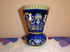 VASE FAIENCE FINE DE GIEN_COLLECTION RENAISSANCE FOND BLEU_DATE 1938_AUTHENTIQUE