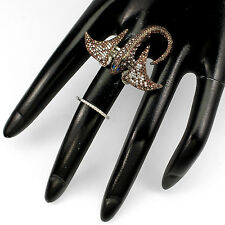 18K VERMEIL-Pave 5A Brown Cubic Zirconia Motion Stingray Knuckle Ring-SZ 7