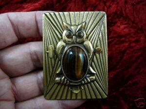 (B-BIRD-302) Owl night brown Tiger eye stone eyes lover pin pendant