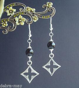 Celtic Cross and Black Agate Gemstone Bead Dangly Earrings
