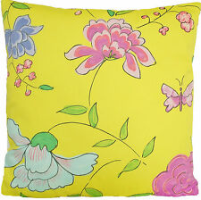 """Yellow Pink Flowers Cushion Cover Designers Guild Butterflies Imari  Square 16"""""""