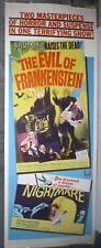 THE EVIL OF FRANKENSTEIN Rare Poster PETER CUSHING original 14x36 insert HAMMER