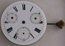 Double Date pocket watch movement & dial 42 mm. in diameter balance broken