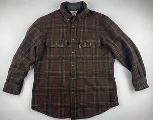 WOOLRICH Loden Thick Plaid Tartan Brown Button Long Sleeve Flannel Shirt Men L