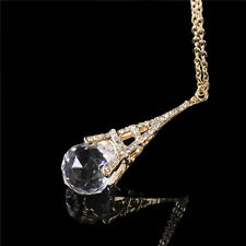 New Womens Paris Eiffel Tower Transparent Crystal Ball Pendant Long Necklace、FR