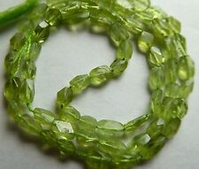 Natural Green Peridot Faceted Rectangular Oval Gemstone Beads Approx. 4-7mm 14""