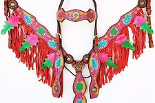PINK FLORAL FRINGE WESTERN LEATHER HORSE BRIDLE HEADSTALL BREASTCOLLAR TACK SET
