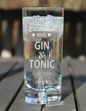 Engraved Personalised Boxed Gin & Tonic Glass Birthday Christmas Gift Est. Heart