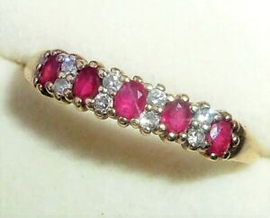 9ct Gold Ruby & Diamond Half Eternity Ring, Size S