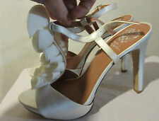 Shoes Size 10 Vince Camuto Silk Chiffon Ruffle Stiletto Ivory Miston Strappy A48
