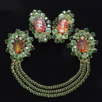 Juliana Chatelaine Set Oval Cat's Eye Cabochon with Matching Clip Earrings Green