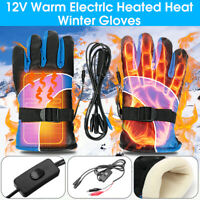 Pair Motorcycle Scooter Electric Heated Gloves Warm Finger Warmer Waterproof  -