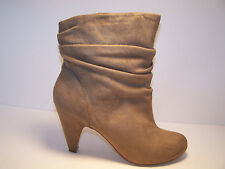 BAKERS Carline Womens Shoes Ankle Boots Khaki Tan Beige Medium Soft Wrinkle NEW