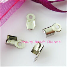 120Pcs Fold Over End Cord Crimp Bead Caps 4x9mm Gold Silver Dull Bronze Plated