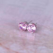 Lady's Ear Stud 8 MM GP Pink Rhinestone CZ Earrings TI00120