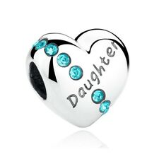 Daughter Charm Love Heart Bead Genuine 925 Sterling Silver Family 791726PCZ NEW