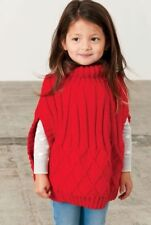 (176) Girl's Cabled Poncho DK Knitting Pattern, 2-10yrs