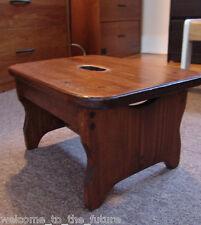 Handcrafted Heavy Duty Wood Step Stool, Carry Kids Bathroom Foot, Brown Mahogany