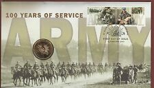 2001 - 100 years ARMY -  Stamp and Coin Cover PNC .........  (ZHL)
