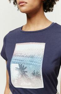 O'Neill Palm Ladies Short Sleeve T Shirt, Navy Blue