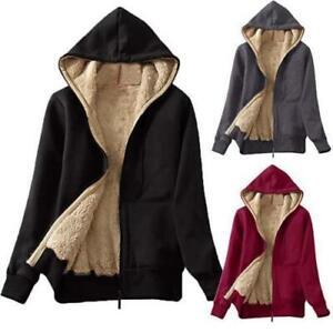Women Fleece Lined Hooded Long Sleeve Jacket Hoodie Outwear Zipper Casual Warm D