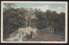 Postcard Pottstown Pa Saratoga Park Spillway Rustic Wooden Bridge 1910'S