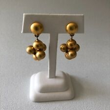 Vintage Art Deco Tarnished Gold Bead Dangle Stud Earrings