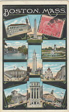 Stamp USA 2c Pilgrim Centenary on 10 view postcard Boston 1921 sent to France