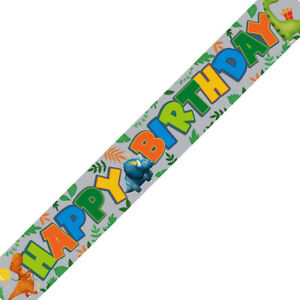 9ft Dinosaur Happy Birthday Foil Banner Party Decorations
