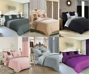 Hala Crushed Velvet Panel Duvet Cover  Bedding Set with Pillow Case