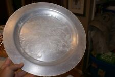 """Hand Wrought Aluminum 12.5"""" Plate Etched With Multiple Flowers Ribbed Rim"""