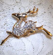 Nice & Sparkly Gold Tone Clear Rhinestone Running Deer Brooch/Pin  EE36*