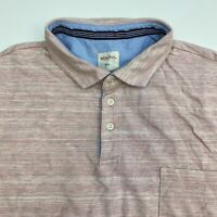 Merona Polo Shirt Men's Size 2XL XXL Short Sleeve Pink Gray Cotton Casual Golf