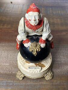 1875 Antique 19thC J&E Stevens Clown on Globe Circus Cast Iron Mechanical Bank