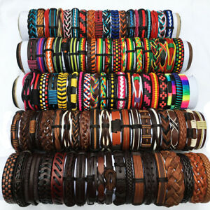 Random Mix Styles 50PCS/lot Braided Leather Bracelets For Men Women Party Gifts