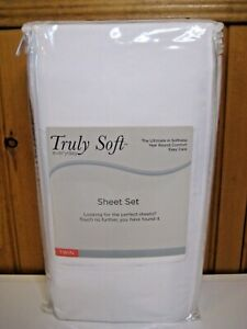 Truly Soft Everyday Solid Twin Bed Sheet Set in Crisp White
