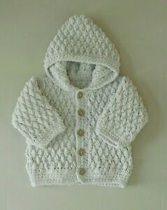 New Hand Crochet/Knit Boys Grey Hooded Cardigan Fit 3-6 Months