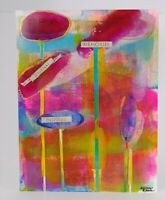 """Collage Art Mixed Media Painting on Paper """"MEMORIES"""" by Allison Reece Bold Color"""