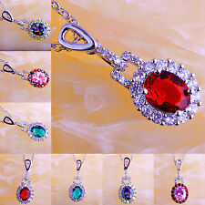 Rainbow & Pink & Green Topaz Ruby Spinel Gemstone Silver Necklace Pendant Estate