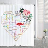 Geometric Heart Waterproof Shower Curtain Bathroom Bath Curtain With Hooks