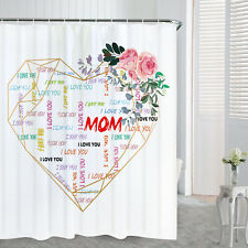Geometric Heart Waterproof Shower Curtain Bathroom Bath Curtain With Hooks