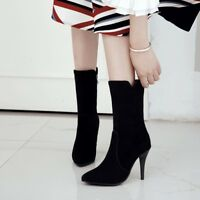 Women's Suede Mid-Calf Boots High Heels Pointed Stilettos Casual Shoes Side Zip