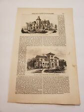 Country House Plans Villa with Tower & Old House Altered c. 1855 Engraving