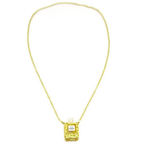 CHANEL CC Logos Perfume Bottle Gold Chain Pendant Necklace Authentic AK35573f
