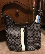 COACH Heritage Stripe Chelsea Blk/Wh Canvas Leather F14476 Hobo Shoulder Bag As